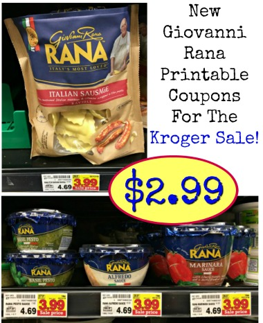 New Giovanni Rana Coupons - Pasta or Sauce Just $2 99 At Kroger