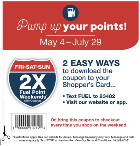 2x Kroger Fuel Points - Summer Fuel Points Pass Valid Until