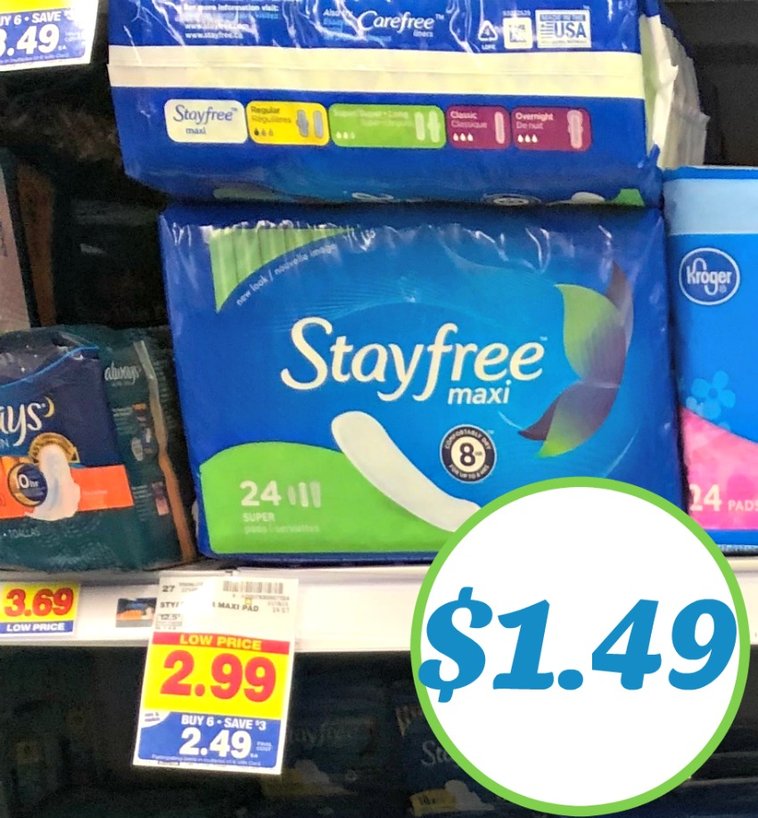 Stayfree Pads As Low As $1 49 At Kroger