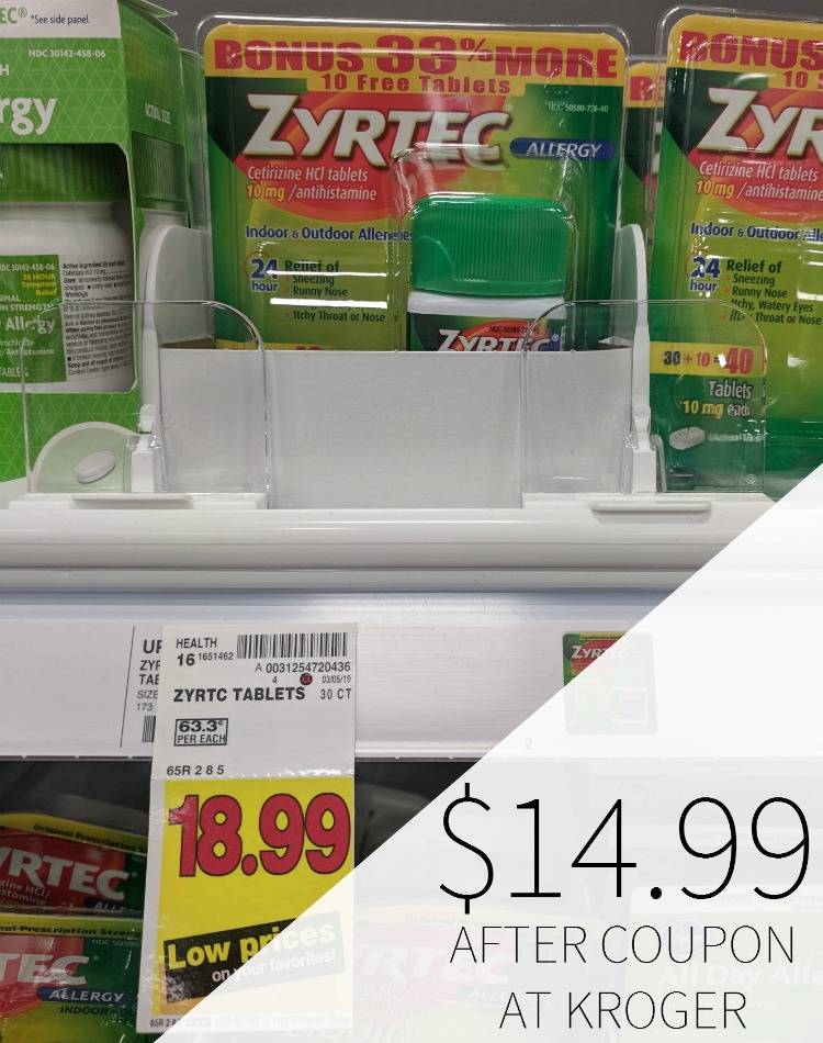graphic regarding Zyrtec Printable Coupon identify zyrtec coupon I Middle Kroger
