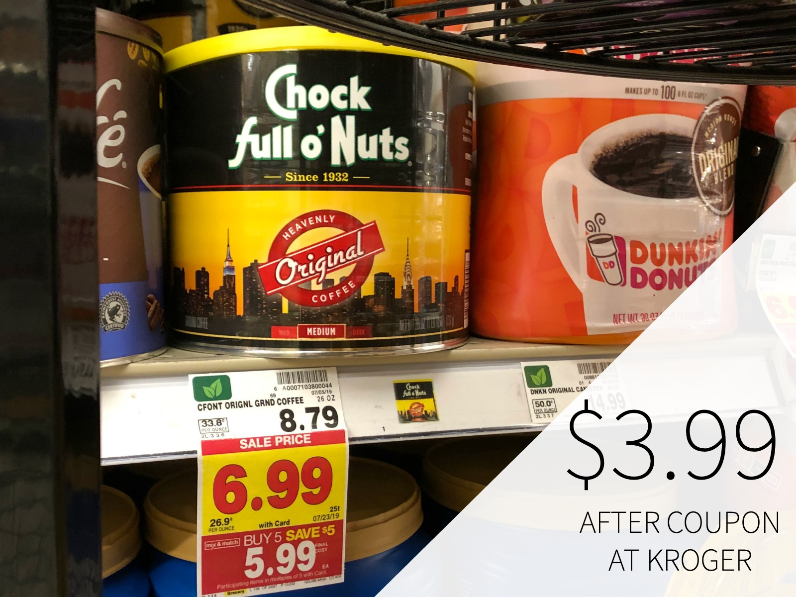 Chock Full O' Nuts Coffee Just $2.99 At Kroger (Today Only)