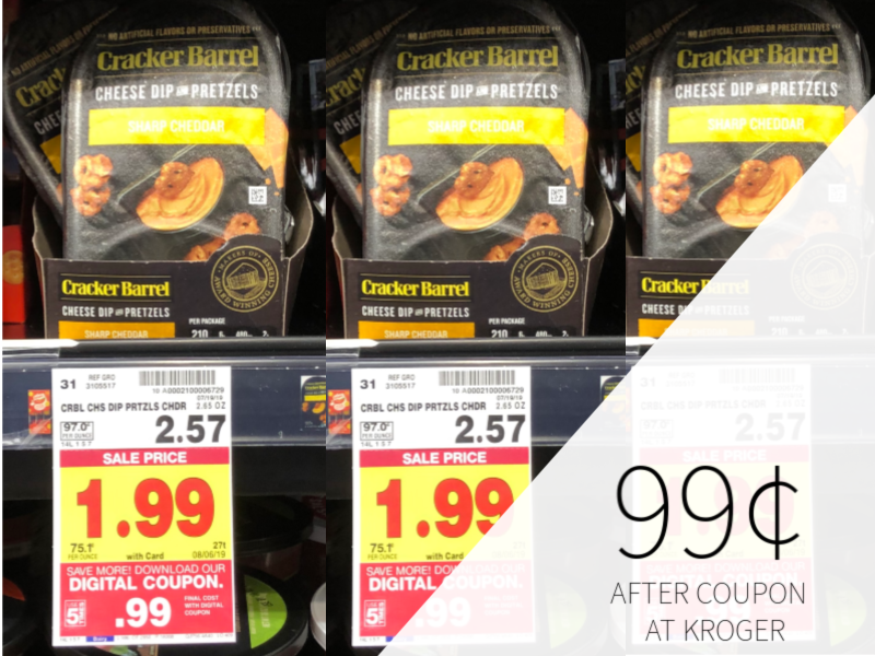 graphic regarding Cracker Barrel Coupons Printable identify Cracker Barrel Cheese Dip Pretzels Merely 99¢ At Kroger