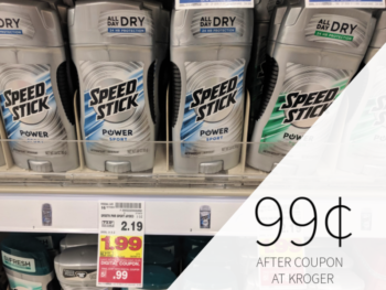Speed Stick Deodorant Only 99¢ At Kroger