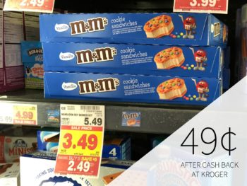 M&M's Ice Cream Cookie Sandwiches 6-Pack Just 49¢ After Cash Back At Kroger