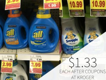 All Laundry Deal - As Low As $1.99 + FREE Snuggle At Kroger (Just $1.33 Per Item)