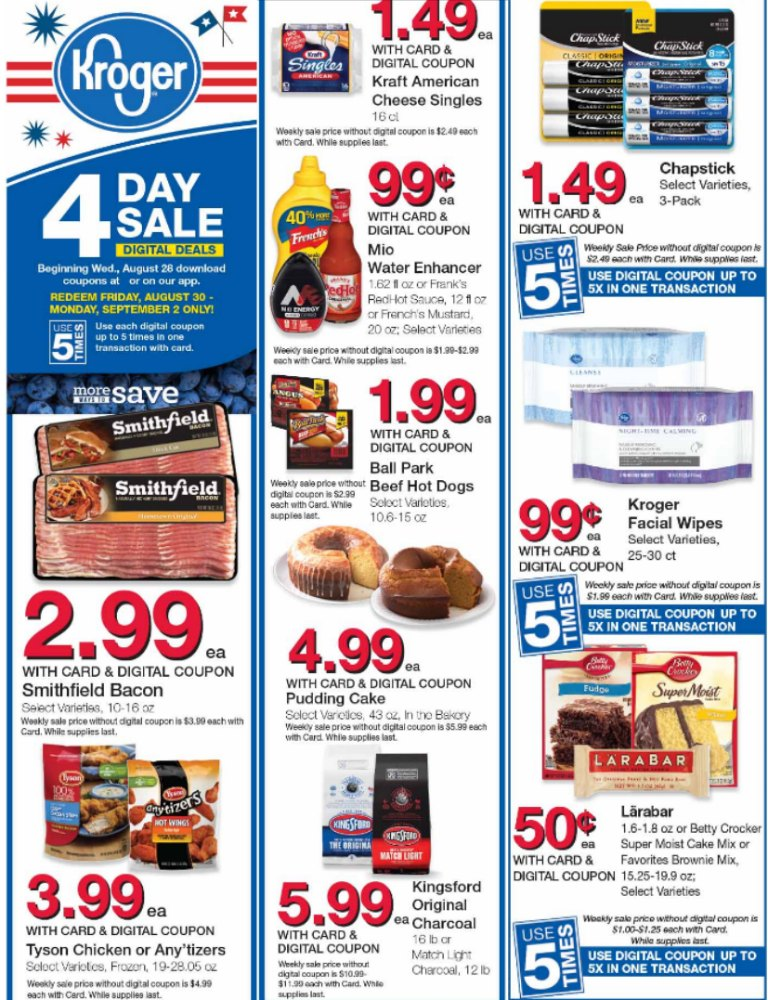 Load Your Coupons For The 4 Days Of Digital Deals (Valid 8/28 & 9/3)