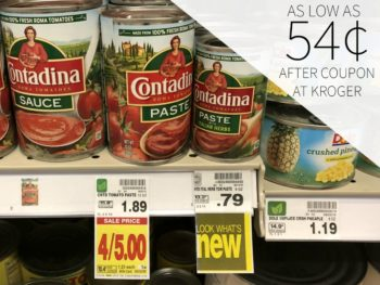 Contadina Canned Tomatos As Low As 54¢ Each At Kroger