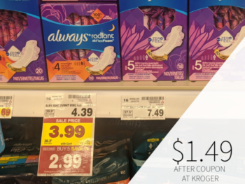 Always Pads Just $1.49 At Kroger