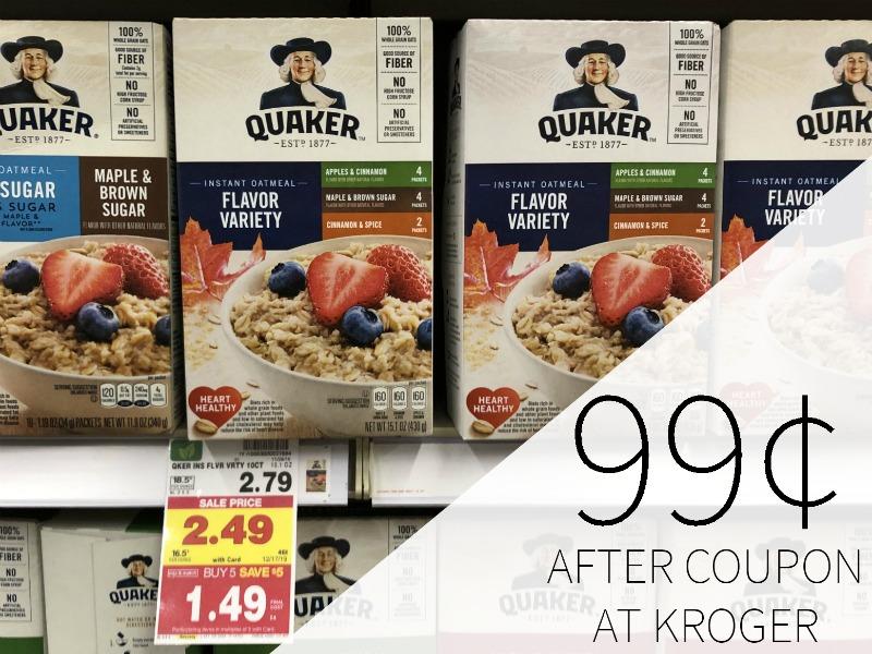 Quaker Instant Oatmeal Just 99¢ Per Box At Kroger