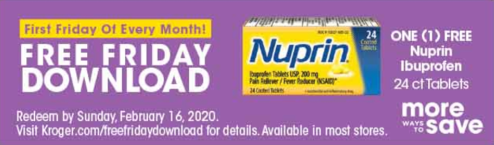 Kroger Free Friday Download - FREE Nuprin Ibuprofen 1