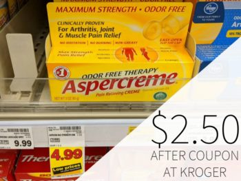 Aspercreme Just $2.50 Per Tube At Kroger