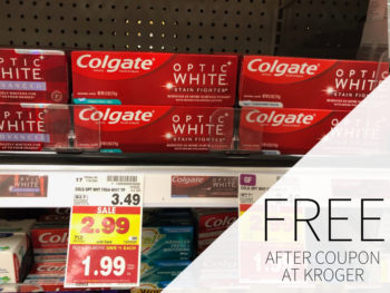 Colgate TotalSF or Optic White Toothpaste FREE At Kroger 1