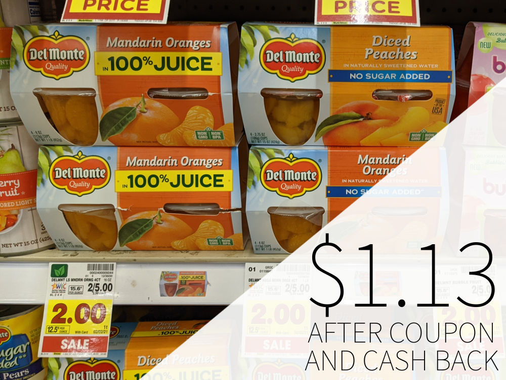 Del Monte Fruit Cups As Low As .13 At Kroger