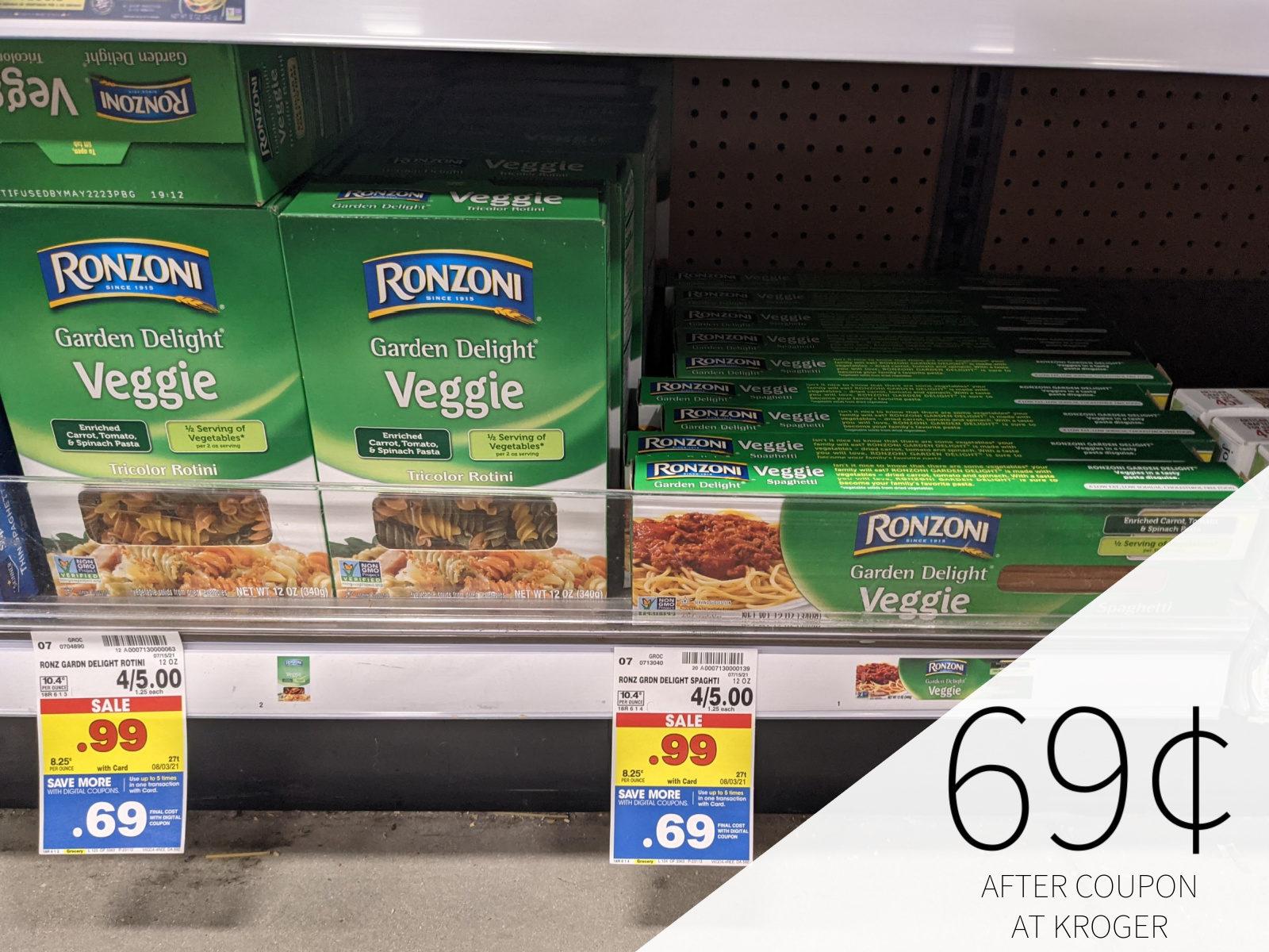 Ronzoni Garden Delight Pasta Only 69¢ At Kroger