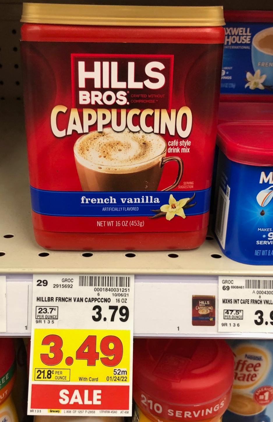 Hills Bros. Cappuccino Drink Mix Just $2.29 At Kroger